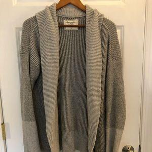 Abercrombie & Fitch Shawl Cardigan Coat Gray